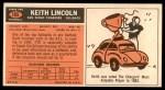1965 Topps #165  Keith Lincoln  Back Thumbnail