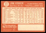 1964 Topps #211  Jim Coker  Back Thumbnail