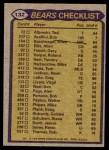 1979 Topps #132   Bears Leaders Checklist Back Thumbnail