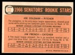 1966 Topps #333   -  Joe Coleman / Jim French Senators Rookies Back Thumbnail