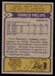 1979 Topps #8  Charles Phillips  Back Thumbnail