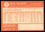1964 Topps #51  Pete Richert  Back Thumbnail