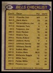 1979 Topps #57   Bills Leaders Checklist Back Thumbnail