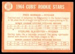 1964 Topps #469   -  Fred Norman / Sterling Slaughter Cubs Rookies Back Thumbnail