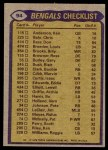 1979 Topps #94   Bengals Leaders Checklist Back Thumbnail