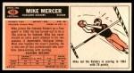 1965 Topps #143  Mike Mercer  Back Thumbnail