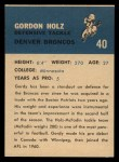 1962 Fleer #40  Gordy Holz  Back Thumbnail