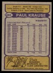 1979 Topps #489  Paul Krause  Back Thumbnail