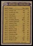1979 Topps #507   Broncos Leaders Checklist Back Thumbnail