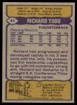 1979 Topps #41  Richard Todd  Back Thumbnail