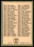 1967 Topps #531   -  Brooks Robinson Checklist 7 Back Thumbnail