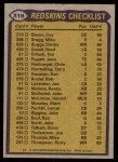 1979 Topps #319   Redskins Leaders Checklist Back Thumbnail