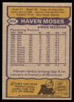 1979 Topps #313  Haven Moses  Back Thumbnail