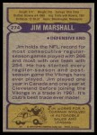 1979 Topps #274  Jim Marshall  Back Thumbnail