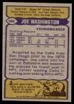 1979 Topps #150  Joe Washington  Back Thumbnail