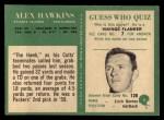 1966 Philadelphia #6  Alex Hawkins  Back Thumbnail