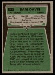 1975 Topps #152  Sam Davis  Back Thumbnail