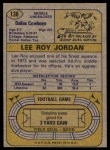 1974 Topps #138   -  Lee Roy Jordan All-Pro Back Thumbnail