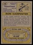 1974 Topps #158  Ron Carpenter  Back Thumbnail