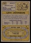 1974 Topps #224  Levi Johnson  Back Thumbnail