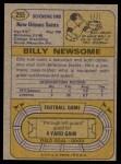 1974 Topps #255  Billy Newsome  Back Thumbnail