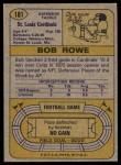1974 Topps #181  Bob Rowe  Back Thumbnail