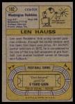 1974 Topps #182  Len Hauss  Back Thumbnail