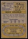 1974 Topps #149  Mike Adamle  Back Thumbnail