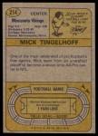 1974 Topps #214  Mick Tingelhoff  Back Thumbnail