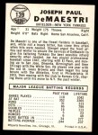 1960 Leaf #139  Joe DeMaestri  Back Thumbnail
