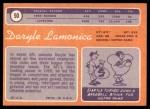 1970 Topps #50  Daryle Lamonica  Back Thumbnail