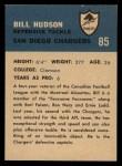 1962 Fleer #85  Bill Hudson  Back Thumbnail