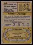 1974 Topps #254  Clint Jones  Back Thumbnail