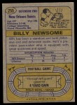 1974 Topps #255  Billy Newsome  Back Thumbnail