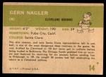 1961 Fleer #14  Gern Nagler  Back Thumbnail