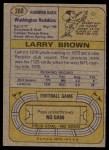 1974 Topps #260  Larry Brown  Back Thumbnail