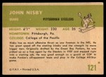 1961 Fleer #121  John Nisby  Back Thumbnail