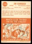 1963 Topps #115  Jim Schrader  Back Thumbnail