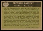 1961 Topps #521   -  Norm / Larry Sherry Brother Battery Back Thumbnail