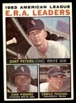 1964 Topps #2   -  Gary Peters / Juan Pizarro / Camilo Pascual AL ERA League Leaders Front Thumbnail