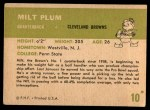 1961 Fleer #10  Milt Plum  Back Thumbnail