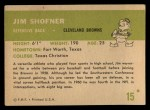 1961 Fleer #15  Jim Shofner  Back Thumbnail