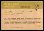 1961 Fleer #154  Gordy Holz  Back Thumbnail