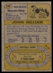 1974 Topps #240  John Gilliam  Back Thumbnail