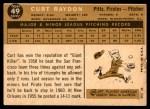 1960 Topps #49  Curt Raydon  Back Thumbnail