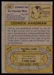 1974 Topps #165  Cedrick Hardman  Back Thumbnail