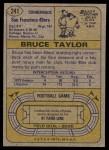 1974 Topps #241  Bruce Taylor  Back Thumbnail