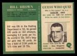 1966 Philadelphia #107  Bill Brown  Back Thumbnail