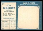 1961 Topps #21  Don Mcllhenny  Back Thumbnail