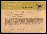 1961 Fleer #191  Alan Miller  Back Thumbnail
